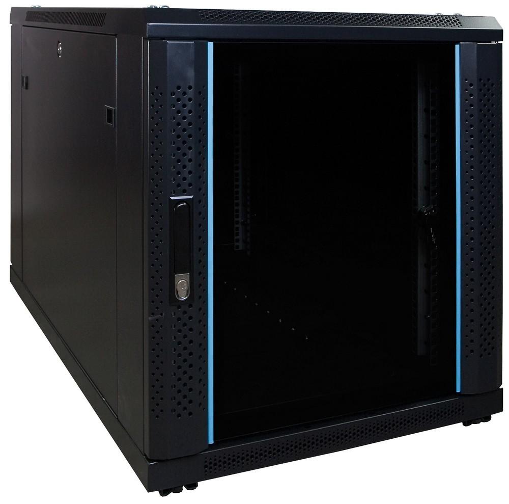 Afbeelding van 12U mini serverkast met glazen deur 600x1000x635mm (BxDxH)