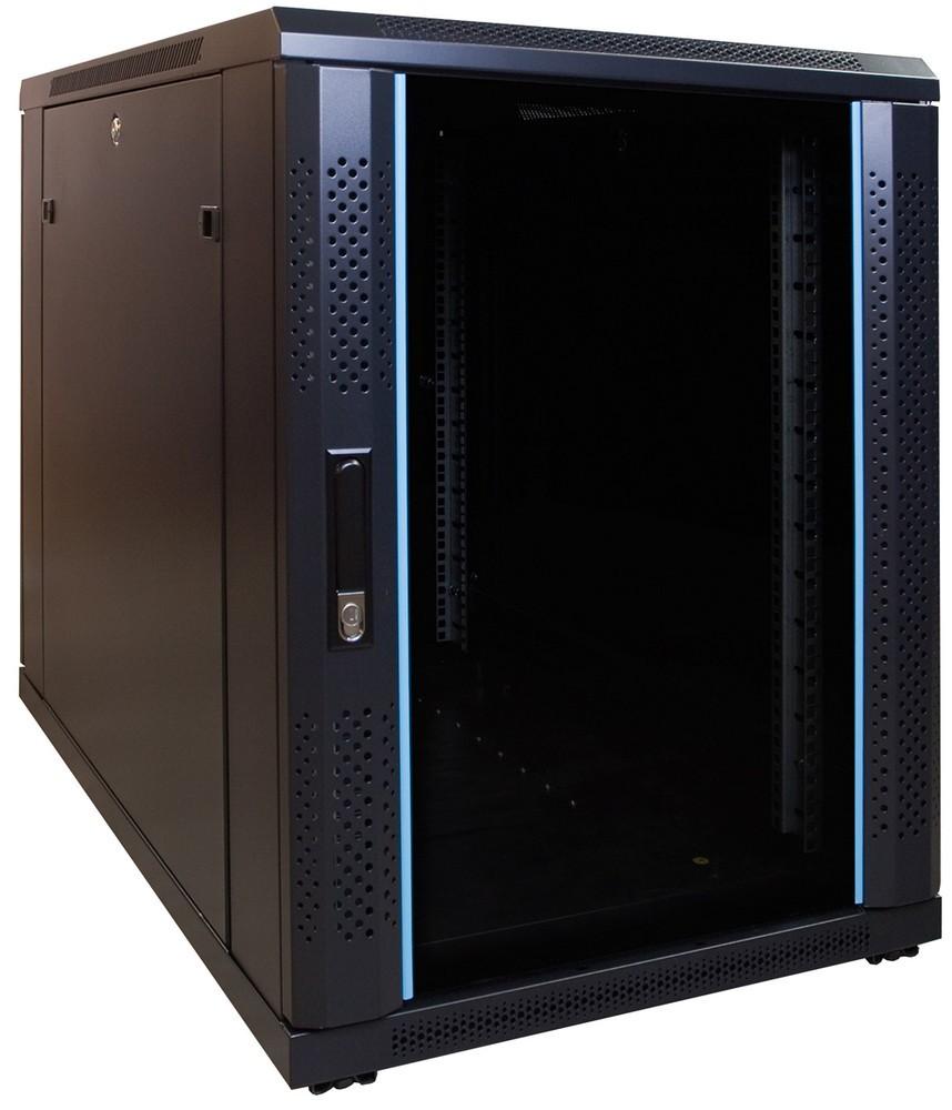 Afbeelding van 15U mini serverkast met glazen deur 600x1000x770mm (BxDxH)