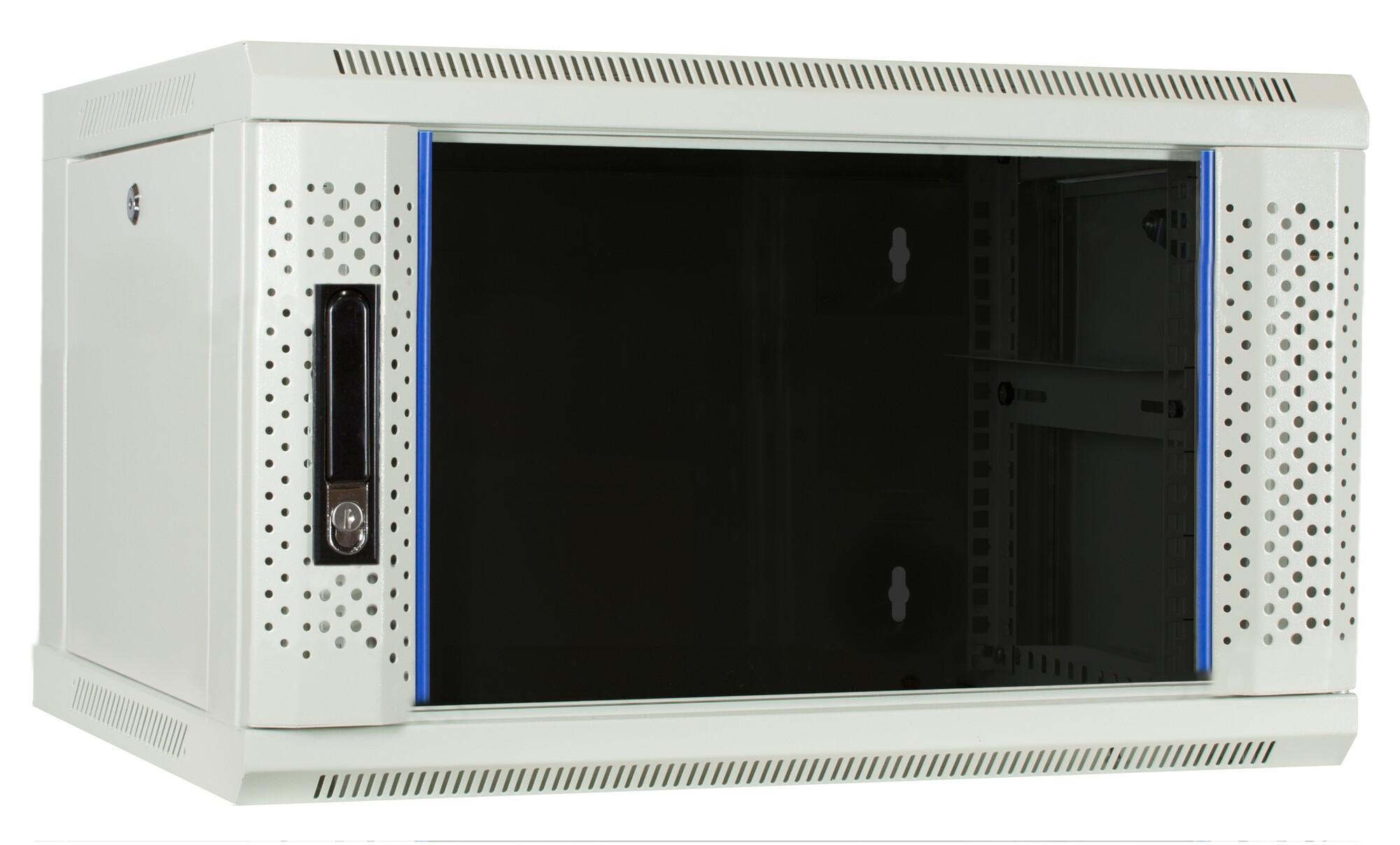 Afbeelding van 6U witte wandkast met glazen deur 600x450x368mm