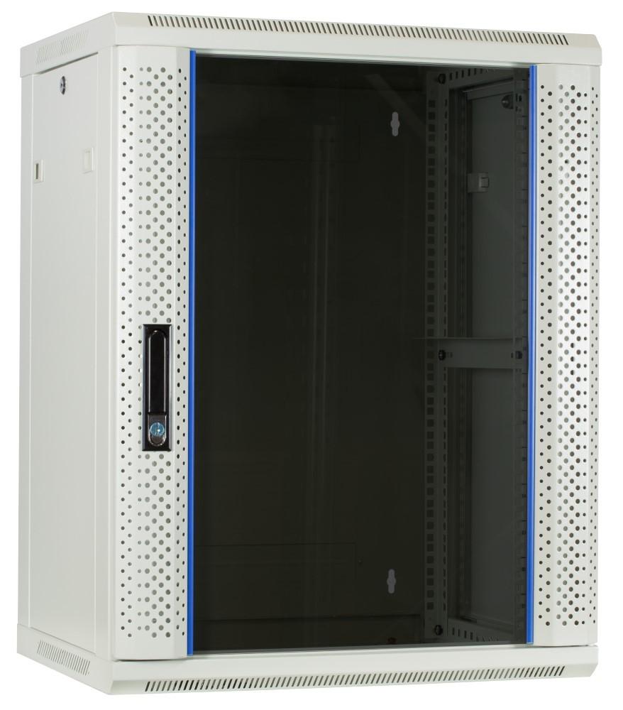 Afbeelding van 15U witte wandkast met glazen deur 600x450x770mm