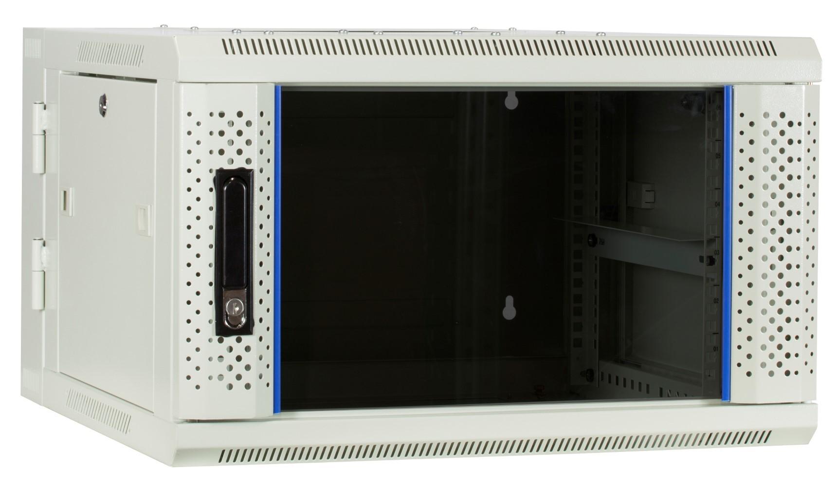 Afbeelding van 6U witte wandkast (kantelbaar) met glazen deur 600x600x368mm