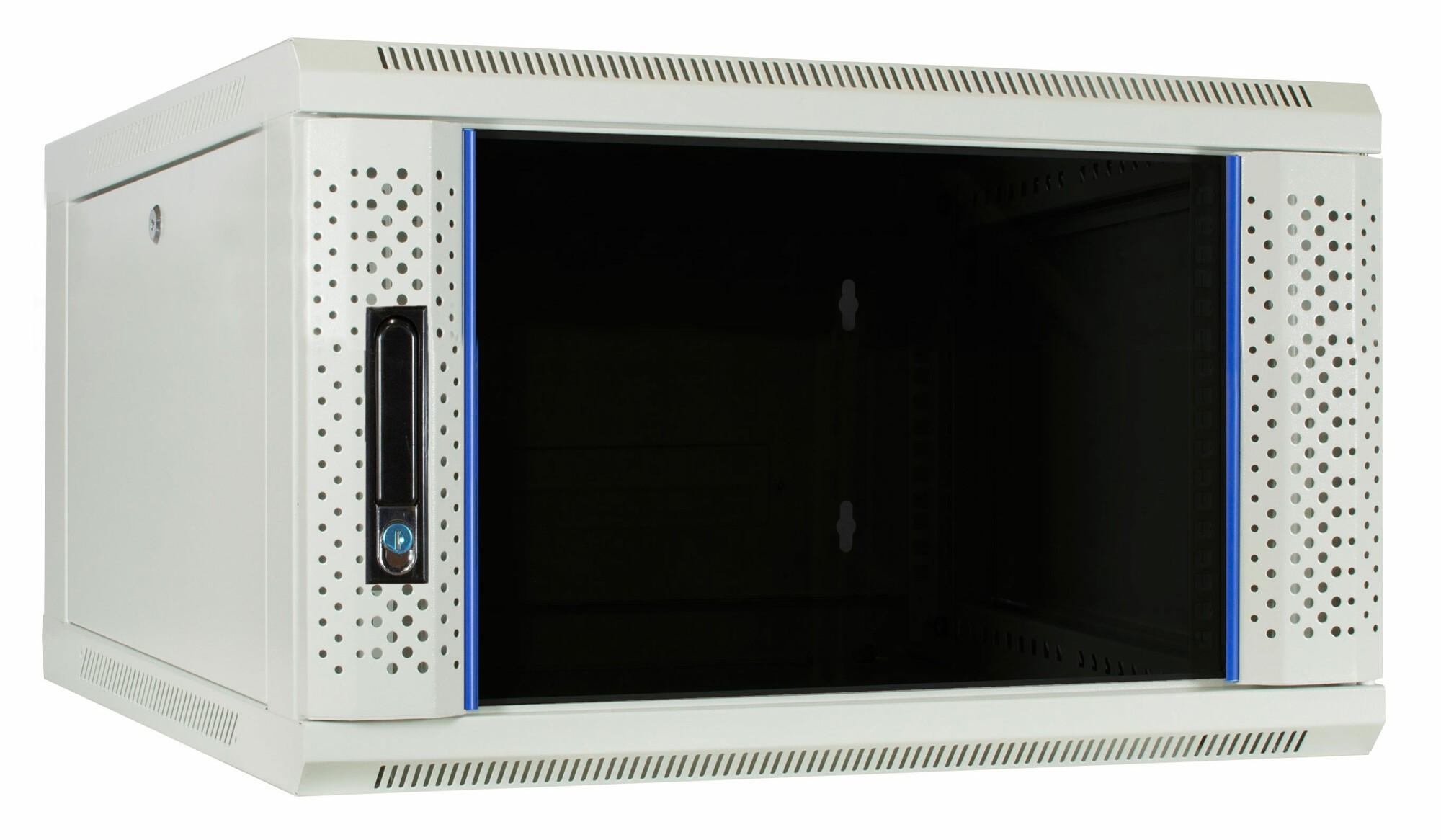Afbeelding van 6U witte wandkast met glazen deur 600x600x368mm