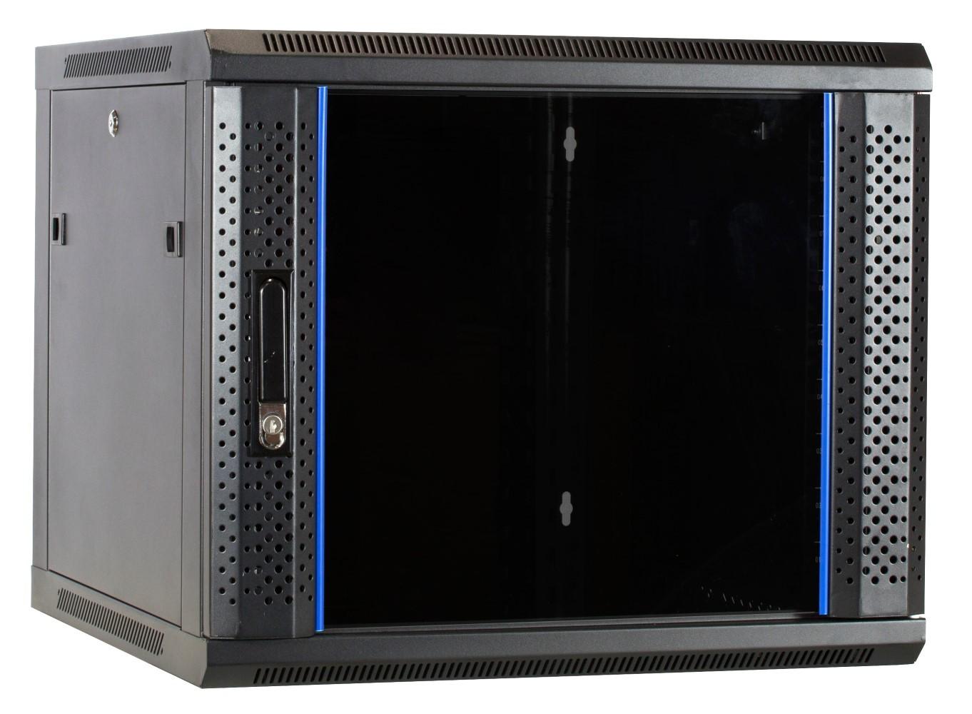 Afbeelding van 9U wandkast met glazen deur 600x600x500mm