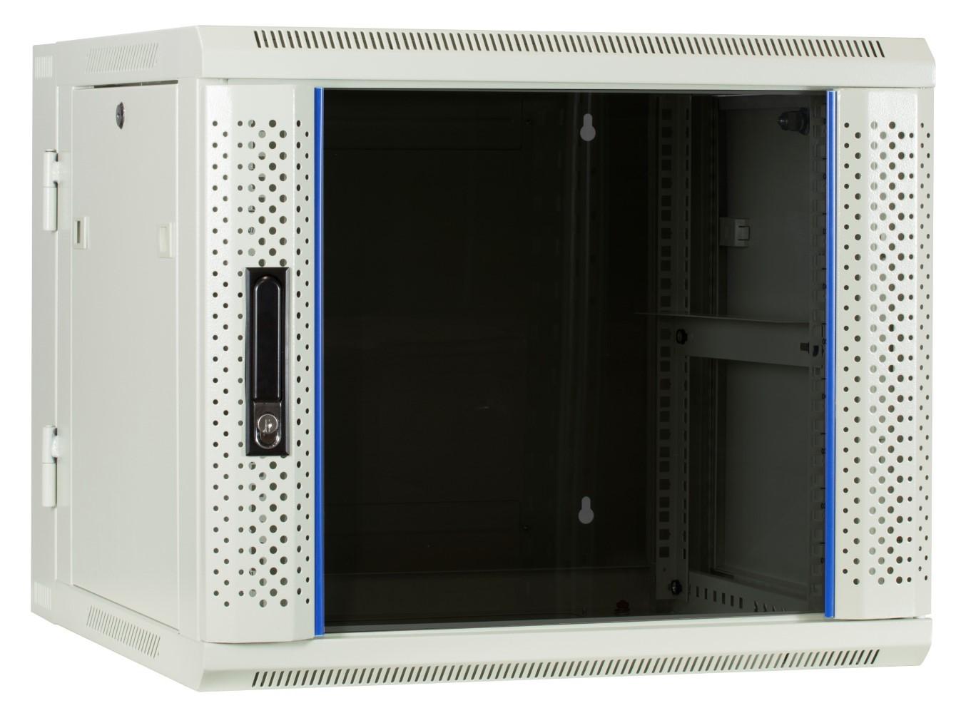 Afbeelding van 9U witte wandkast (kantelbaar) met glazen deur 600x600x500mm