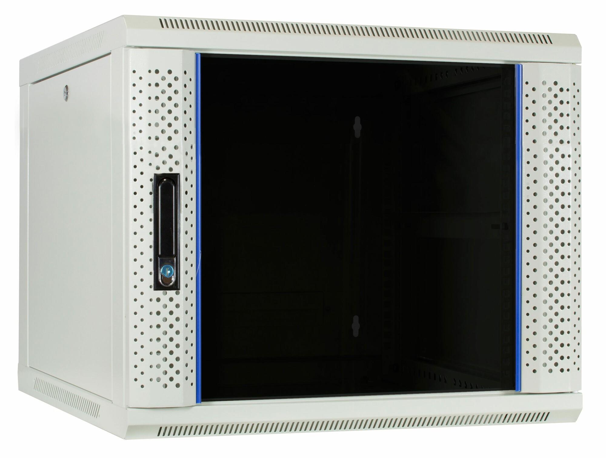 Afbeelding van 9U witte wandkast met glazen deur 600x600x500mm