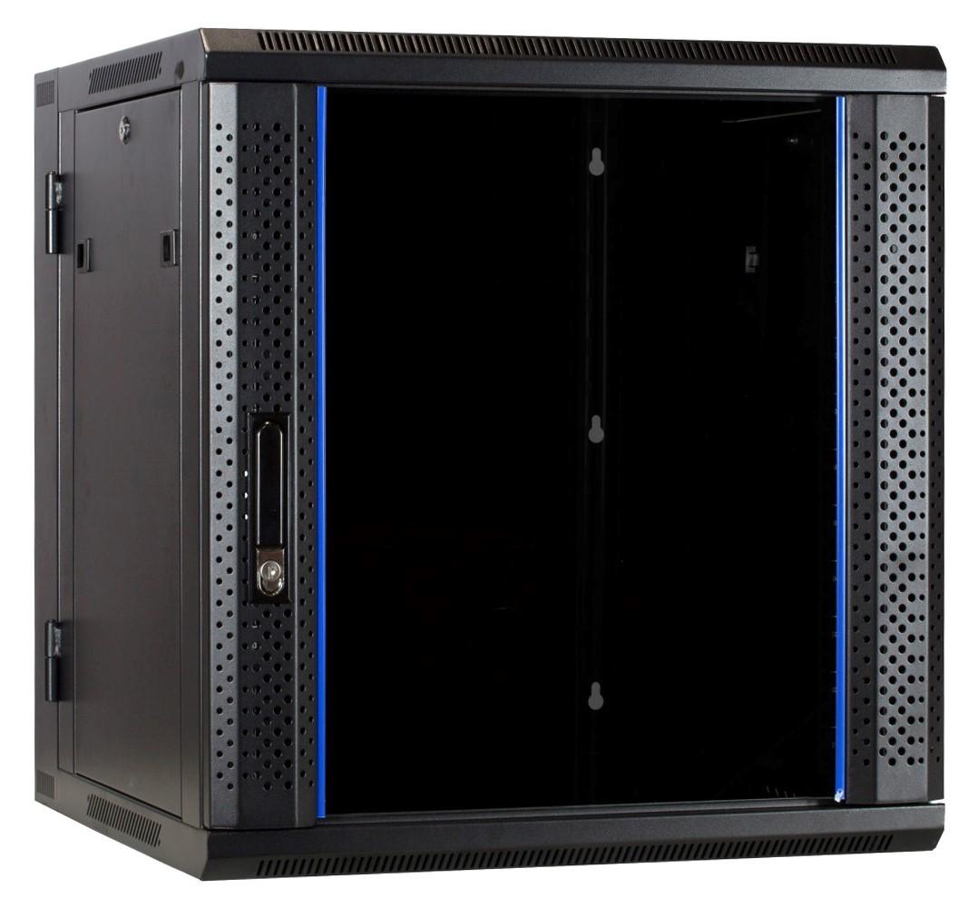 Afbeelding van 12U wandkast (kantelbaar) met glazen deur 600x600x635mm