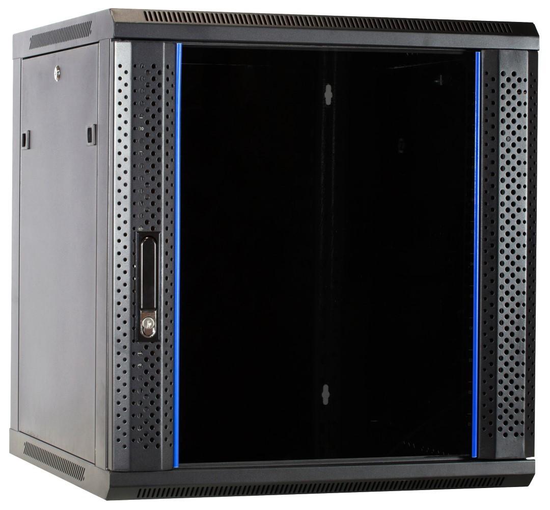 Afbeelding van 12U wandkast ongemonteerd met glazen deur 600x600x635mm (BxDxH)