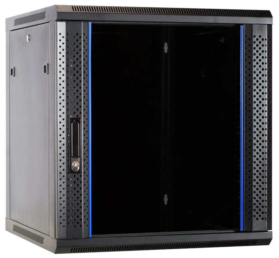 Afbeelding van 12U wandkast met glazen deur 600x600x635mm (BxDxH)