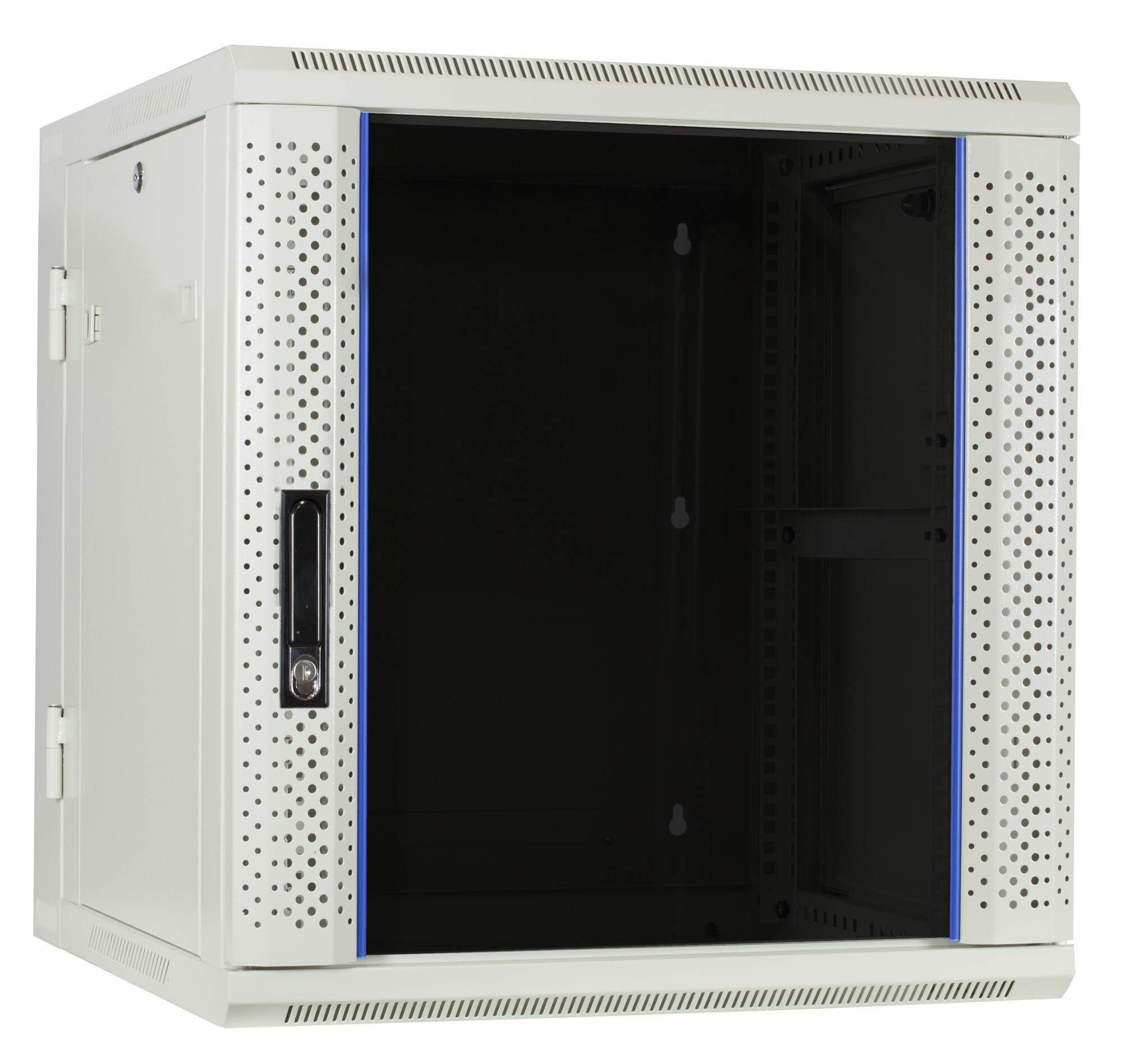 Afbeelding van 12U witte wandkast (kantelbaar) met glazen deur 600x600x635mm