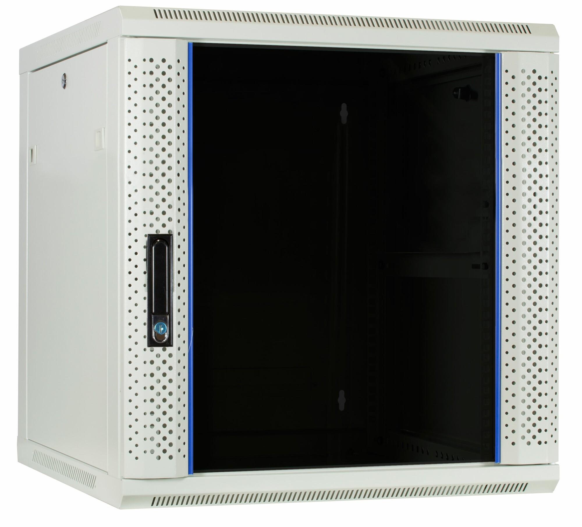 Afbeelding van 12U witte wandkast met glazen deur 600x600x635mm