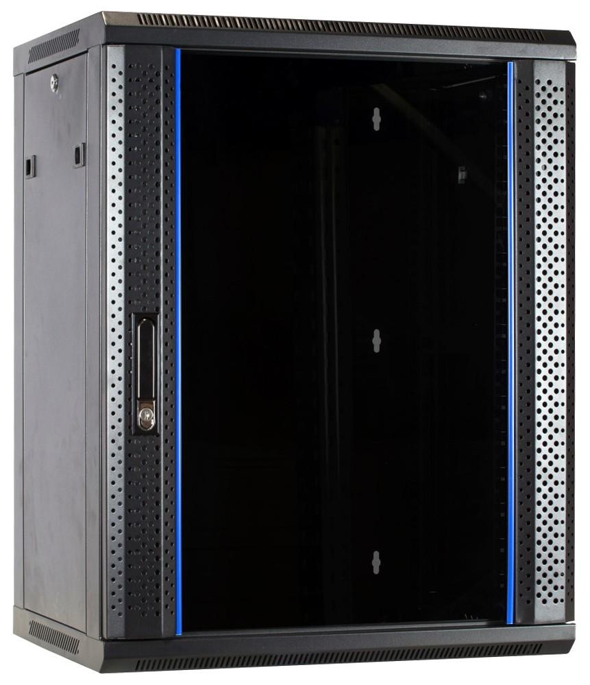 Afbeelding van 15U wandkast met glazen deur 600x600x770mm