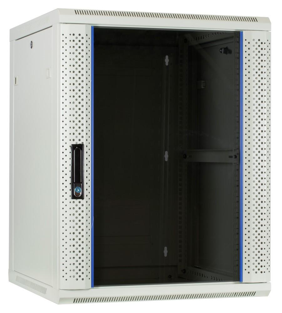 Afbeelding van 15U witte wandkast met glazen deur 600x600x770mm