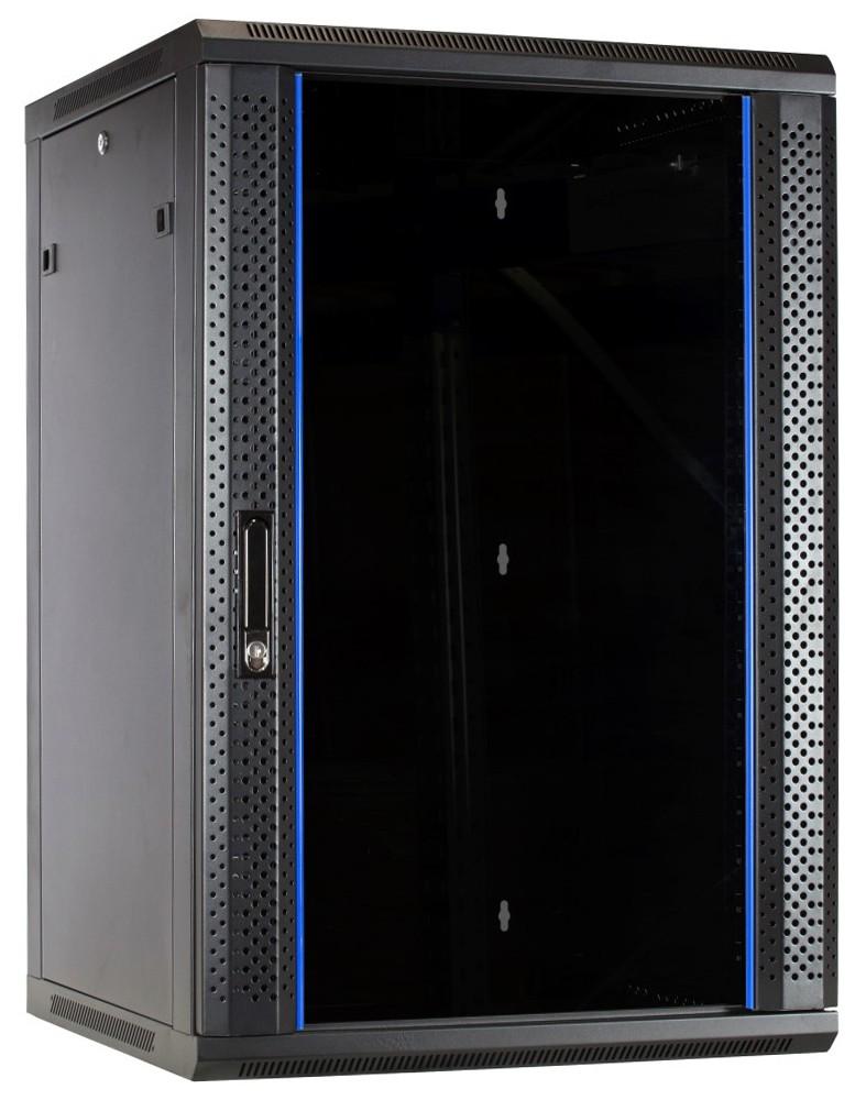 Afbeelding van 18U wandkast met glazen deur 600x600x900mm (BxDxH)