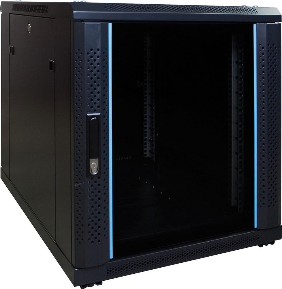 Afbeelding van 12U mini serverkast met glazen deur 600x800x635mm (BxDxH)