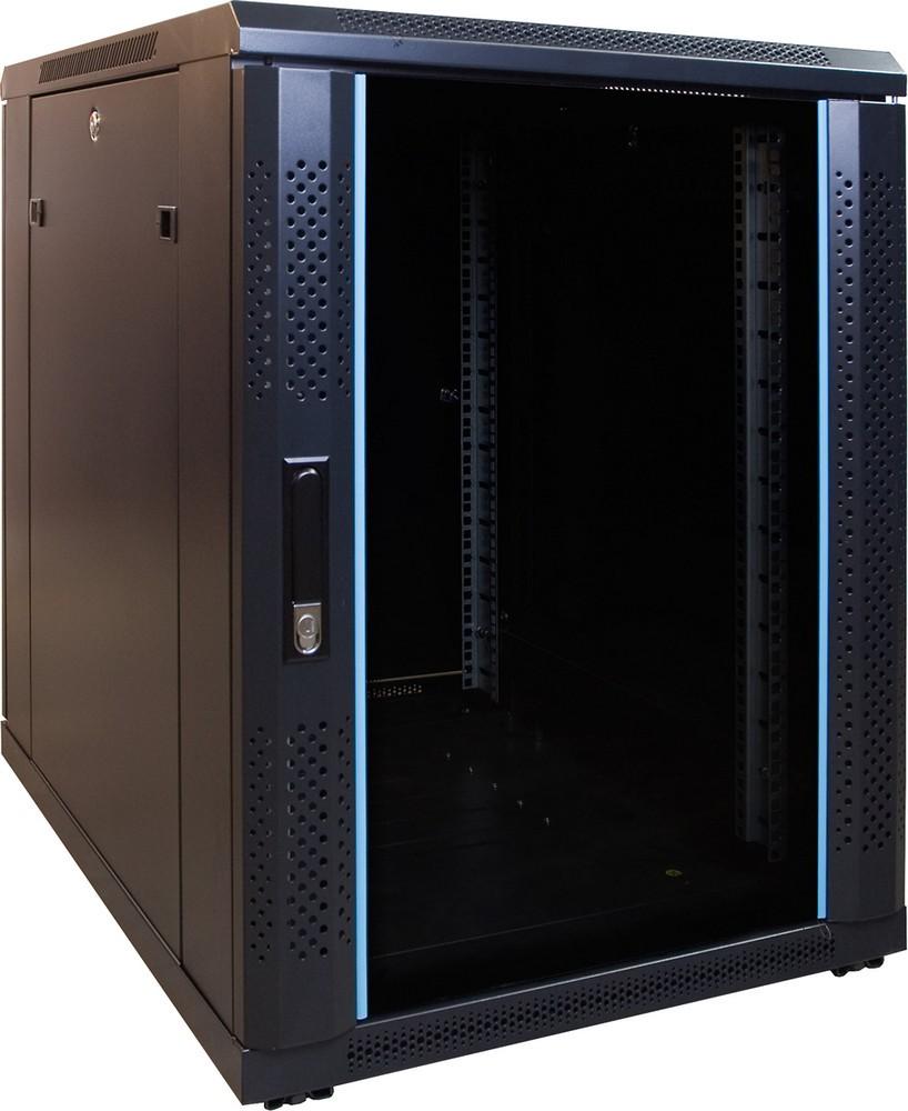 Afbeelding van 15U mini serverkast met glazen deur 600x800x770mm (BxDxH)