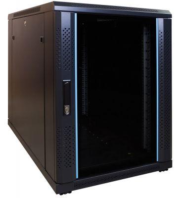 15U mini serverkast met glazen deur 600x1000x860mm (BxDxH)
