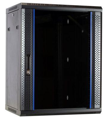 15U wandkast ongemonteerd met glazen deur 600x450x770mm