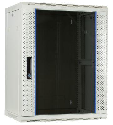 15U witte wandkast met glazen deur 600x450x770mm
