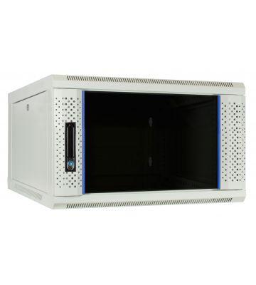 6U witte wandkast met glazen deur 600x600x368mm