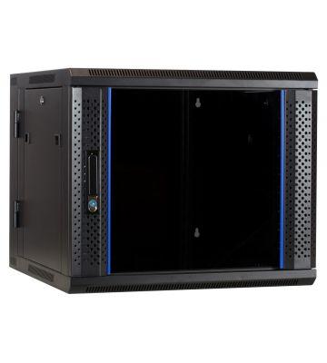 9U wandkast (kantelbaar) met glazen deur 600x600x500mm