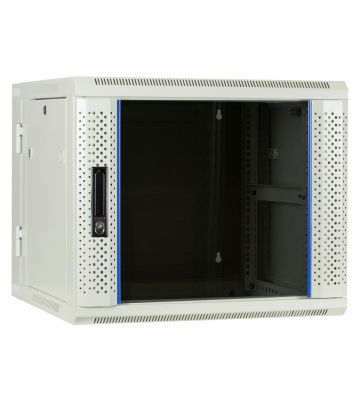9U witte wandkast (kantelbaar) met glazen deur 600x600x500mm