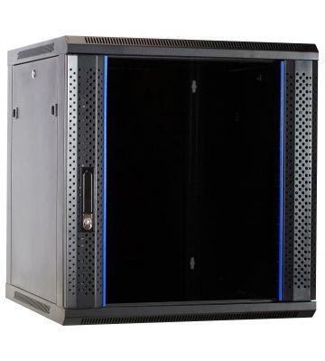 12U wandkast ongemonteerd met glazen deur 600x600x635mm (BxDxH)