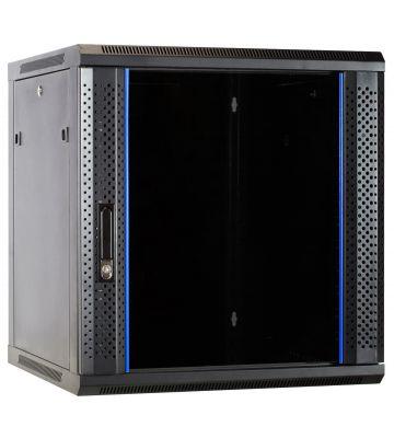 12U wandkast met glazen deur 600x600x635mm (BxDxH)