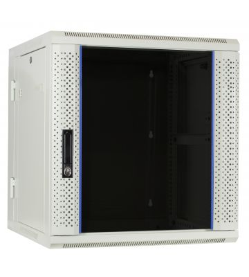 12U witte wandkast (kantelbaar) met glazen deur 600x600x635mm