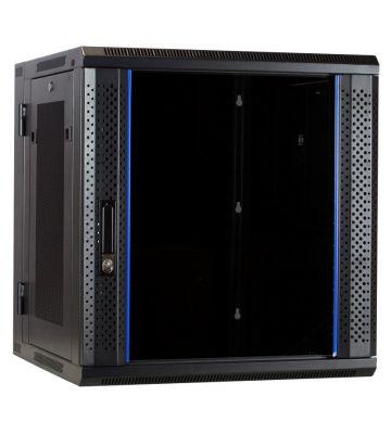 12U wandkast (kantelbaar) met glazen deuren geperforeerde zijwanden 600x600x635mm