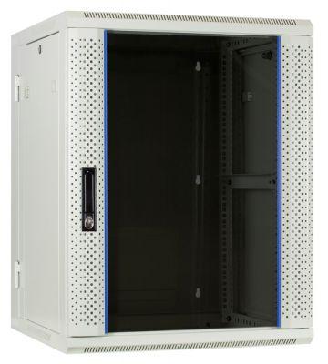 15U witte wandkast (kantelbaar) met glazen deur 600x600x770mm