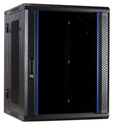 15U wandkast (kantelbaar) met glazen deur en geperforeerde zijwanden 600x600x770mm