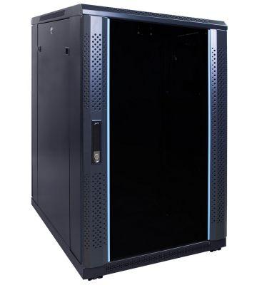 18U serverkast ongemonteerd met glazen deur 600x800x1000mm (BxDxH)