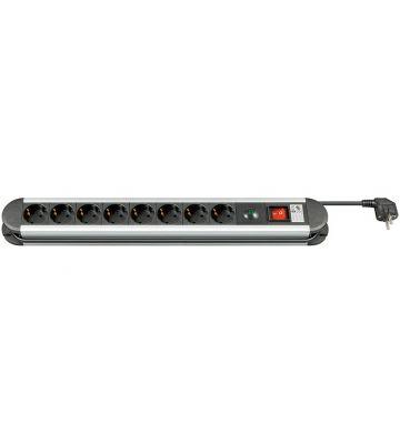 8 voudige aluminium stekkerdoos met overspanningsbeveiliging 1,50m zwart
