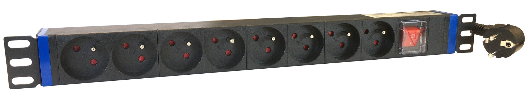 Afbeelding van 19 inch 8 voudige stekkerdoos met schakelaar - Penaarde