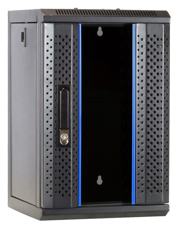 Afbeelding van 10 inch 9U serverkast met glazen deur 312x310x486mm (BxDxH)