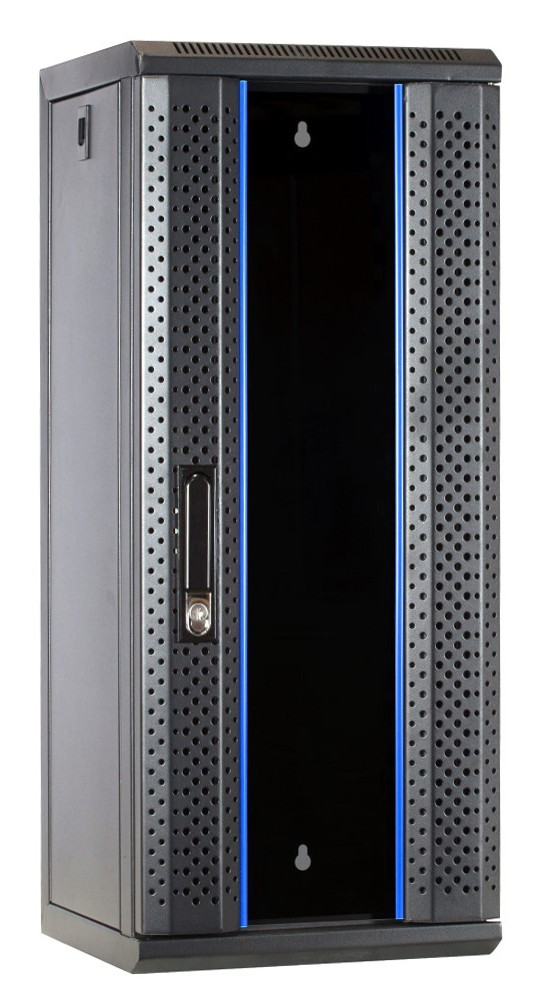 Afbeelding van 10 inch 15U serverkast met glazen deur 312x310x752mm (BxDxH)